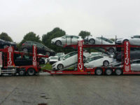 Car transporter carrying ten cars multiple vehicle movements